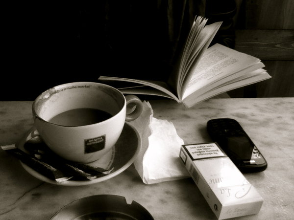 coffee cigarettes and books