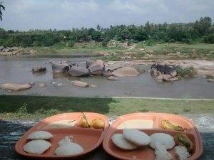 Breakfast in hampi with a beautiful view