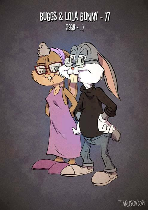 Cartoon Bugs and Lola bunny old and aged