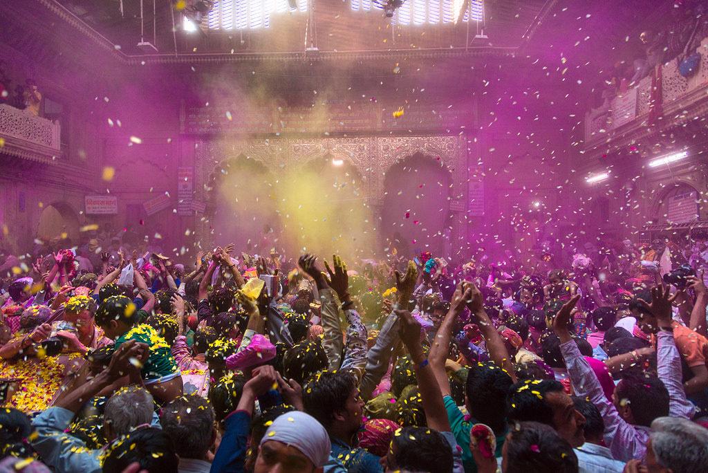 Holi festival colour powder festival at Mathura & Vrindavan BAnke Bihari temple